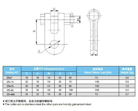 Power Transmission Clevis Hinge Galvanized Steel Materials Stable Structure
