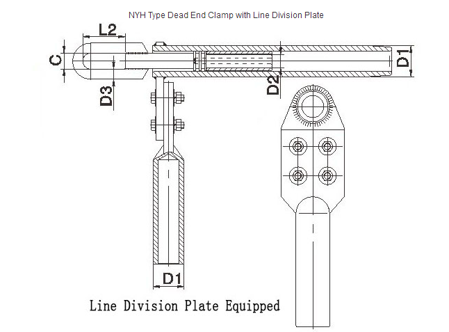 Strain Relief Clamp Welding Type , Dead End Connectors With Line Division Plate