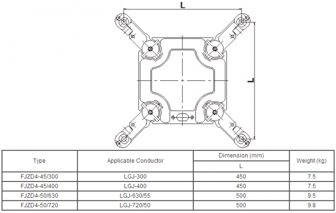 Four Split Conductor Open Wire Line Spacers , Transmission Spacer Anti Vibration